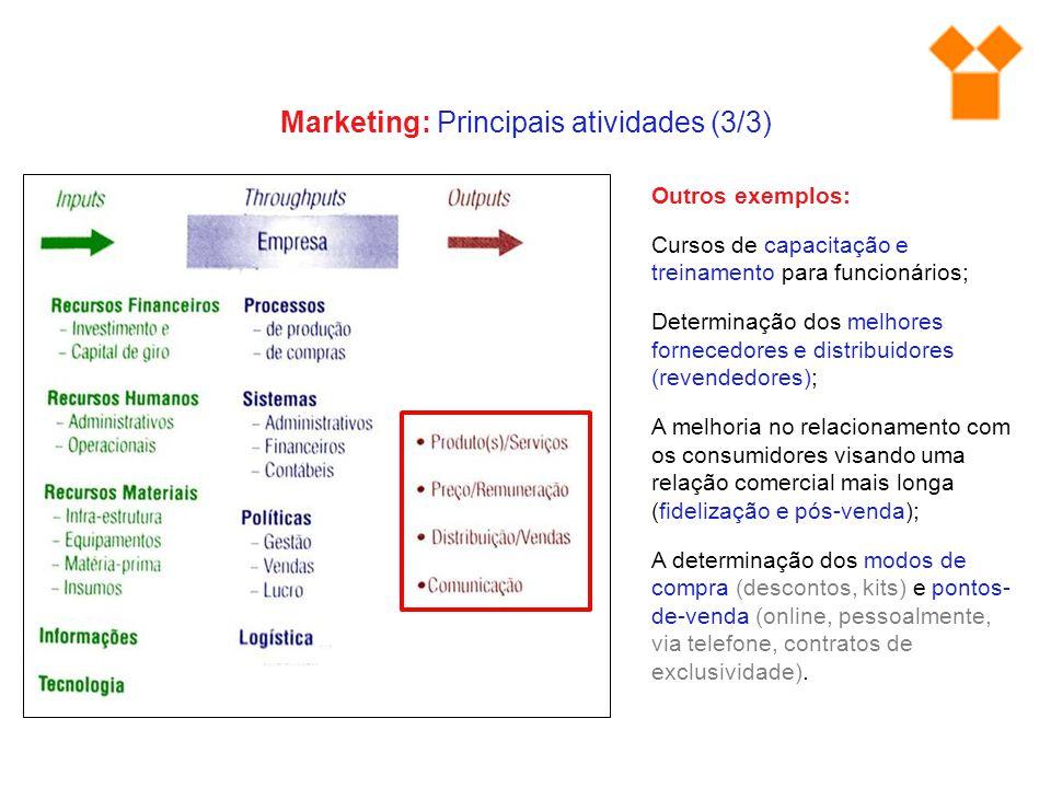 Outros exemplos: Cursos de capacitação e treinamento para funcionários; Determinação dos melhores fornecedores e distribuidores (revendedores); A melh