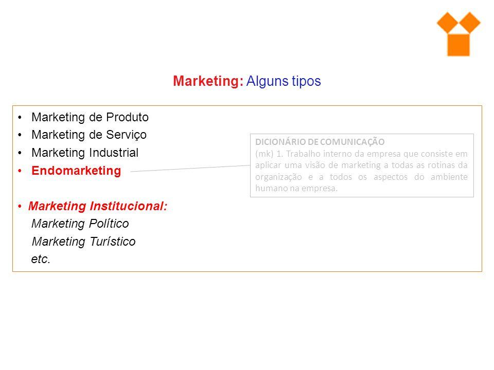 Marketing: Alguns tipos Marketing de Produto Marketing de Serviço Marketing Industrial Endomarketing Marketing Institucional: Marketing Político Marke