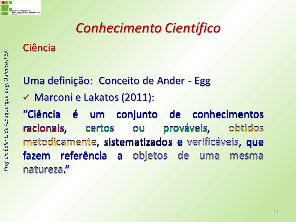 Prof. Dr. Édler L. de Albuquerque, Eng. Química IFBA Conhecimento Científico Ciência Uma definição: Conceito de Ander - Egg Marconi e Lakatos (2011):