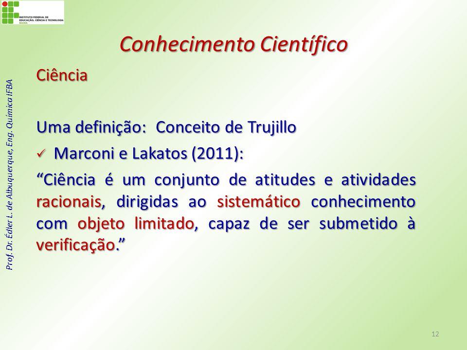 Prof. Dr. Édler L. de Albuquerque, Eng. Química IFBA Conhecimento Científico Ciência Uma definição: Conceito de Trujillo Marconi e Lakatos (2011): Mar
