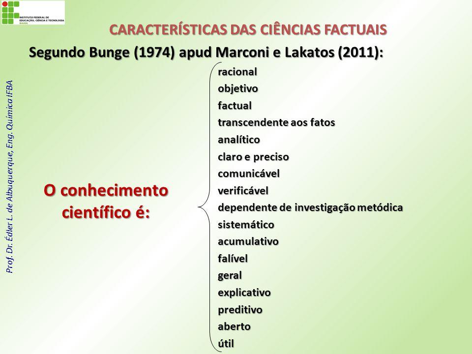 Prof. Dr. Édler L. de Albuquerque, Eng. Química IFBA CARACTERÍSTICAS DAS CIÊNCIAS FACTUAIS Segundo Bunge (1974) apud Marconi e Lakatos (2011): raciona