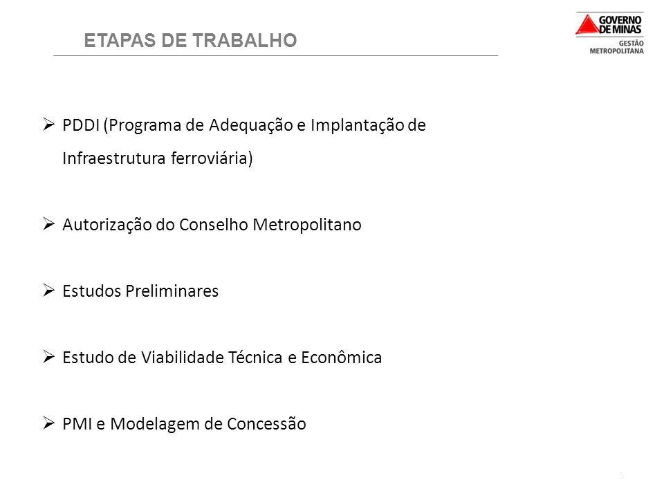 5 ETAPAS DE TRABALHO  PDDI (Programa de Adequação e Implantação de Infraestrutura ferroviária)  Autorização do Conselho Metropolitano  Estudos Prel