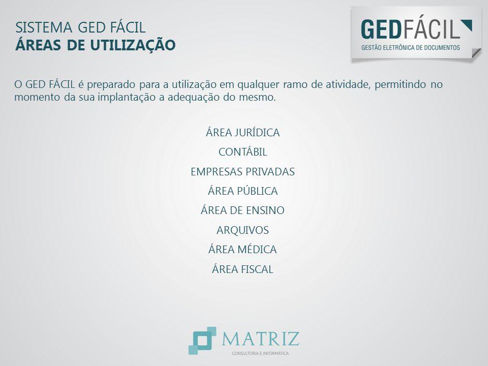 SISTEMA GED FÁCIL ÁREAS DE UTILIZAÇÃO O GED FÁCIL é preparado para a utilização em qualquer ramo de atividade, permitindo no momento da sua implantaçã