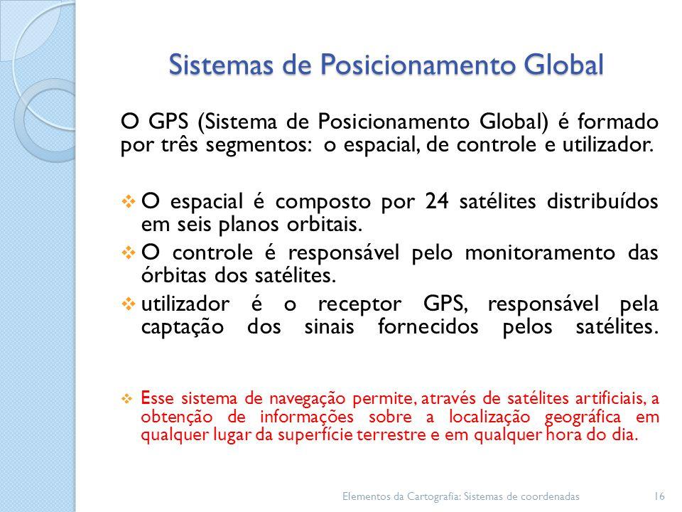 Sistemas de Posicionamento Global O GPS (Sistema de Posicionamento Global) é formado por três segmentos: o espacial, de controle e utilizador.