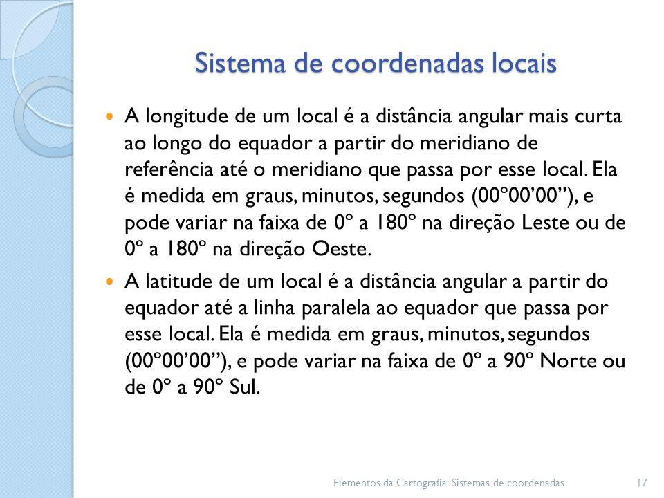 Sistema de coordenadas locais A longitude de um local é a distância angular mais curta ao longo do equador a partir do meridiano de referência até o meridiano que passa por esse local.