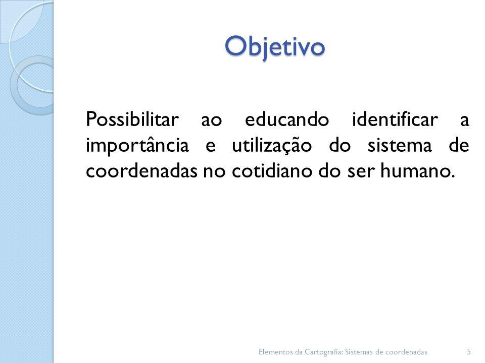 Objetivo Possibilitar ao educando identificar a importância e utilização do sistema de coordenadas no cotidiano do ser humano.