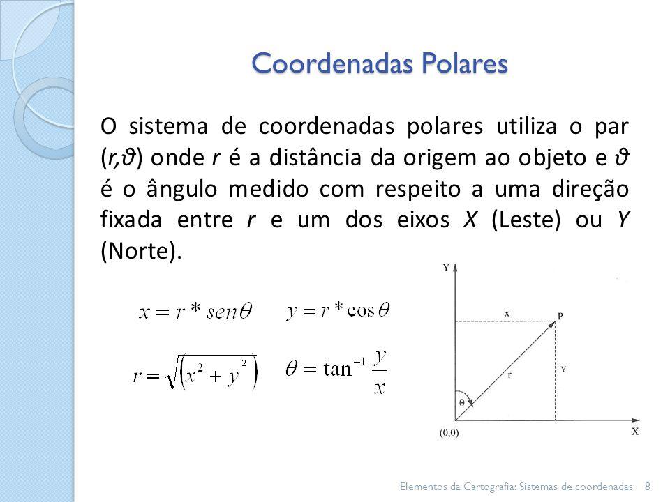 Coordenadas Polares Elementos da Cartografia: Sistemas de coordenadas8 O sistema de coordenadas polares utiliza o par (r,θ) onde r é a distância da origem ao objeto e θ é o ângulo medido com respeito a uma direção fixada entre r e um dos eixos X (Leste) ou Y (Norte).