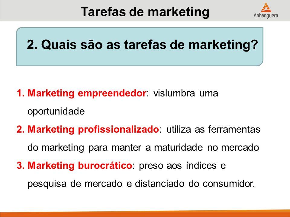 2.Quais são as tarefas de marketing.