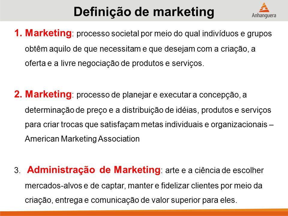 1.Marketing : processo societal por meio do qual indivíduos e grupos obtêm aquilo de que necessitam e que desejam com a criação, a oferta e a livre negociação de produtos e serviços.