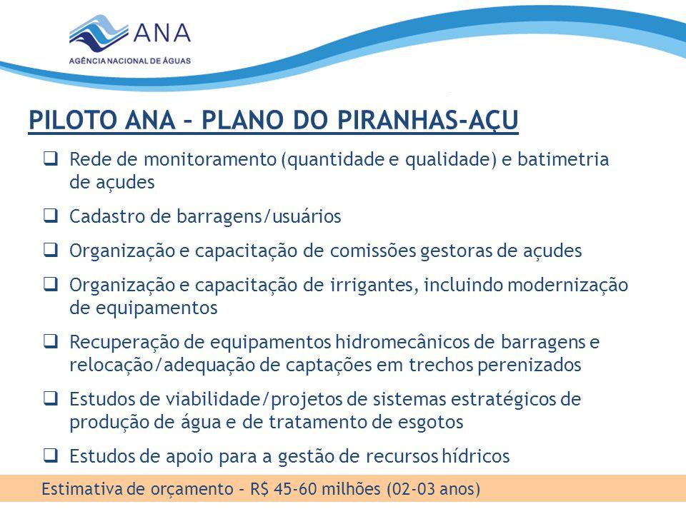 PILOTO ANA – PLANO DO PIRANHAS-AÇU Estimativa de orçamento – R$ 45-60 milhões (02-03 anos)  Rede de monitoramento (quantidade e qualidade) e batimetr