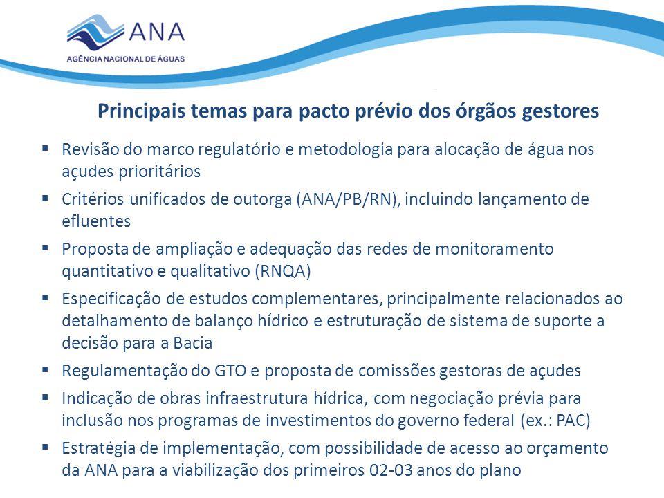  Revisão do marco regulatório e metodologia para alocação de água nos açudes prioritários  Critérios unificados de outorga (ANA/PB/RN), incluindo la