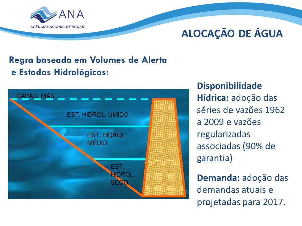 Regra baseada em Volumes de Alerta e Estados Hidrológicos: ALOCAÇÃO DE ÁGUA Disponibilidade Hídrica: adoção das séries de vazões 1962 a 2009 e vazões regularizadas associadas (90% de garantia) Demanda: adoção das demandas atuais e projetadas para 2017.