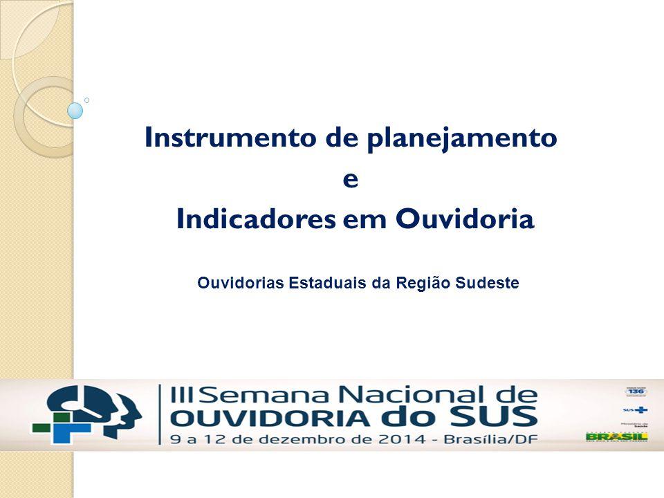 Instrumento de planejamento e Indicadores em Ouvidoria Ouvidorias Estaduais da Região Sudeste