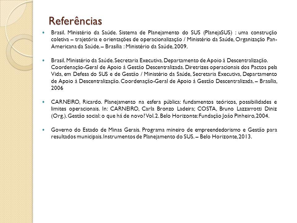 Referências Brasil. Ministério da Saúde. Sistema de Planejamento do SUS (PlanejaSUS) : uma construção coletiva – trajetória e orientações de operacion