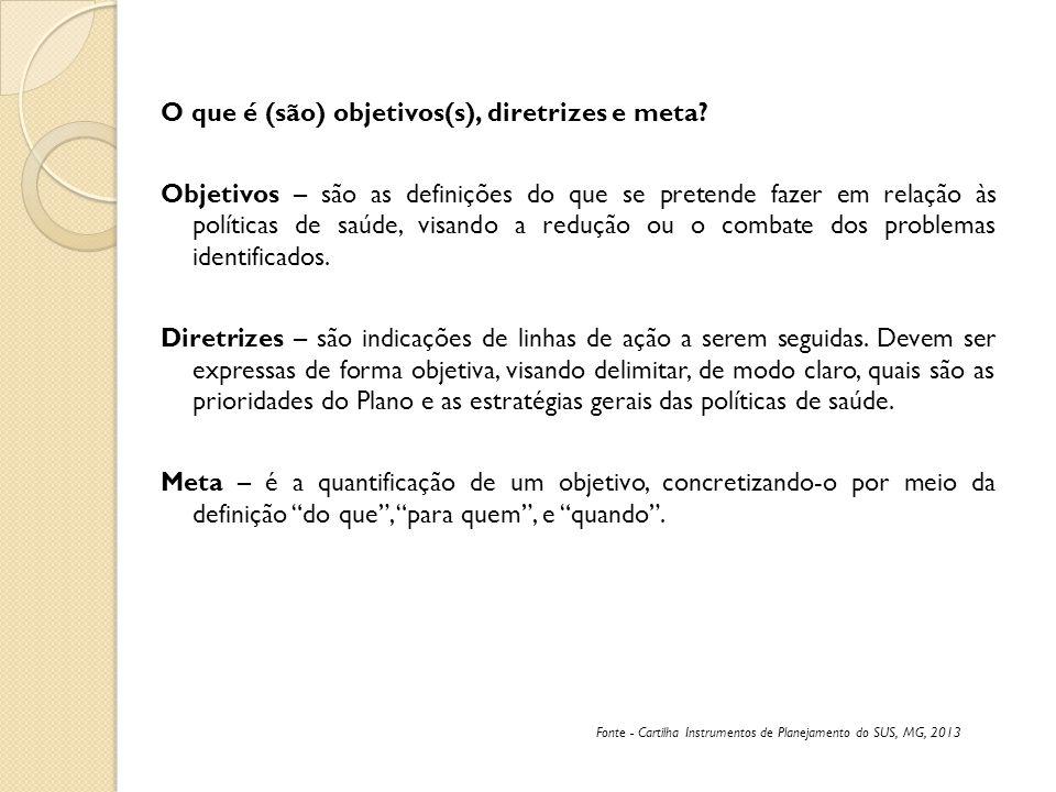 O que é (são) objetivos(s), diretrizes e meta? Objetivos – são as definições do que se pretende fazer em relação às políticas de saúde, visando a redu
