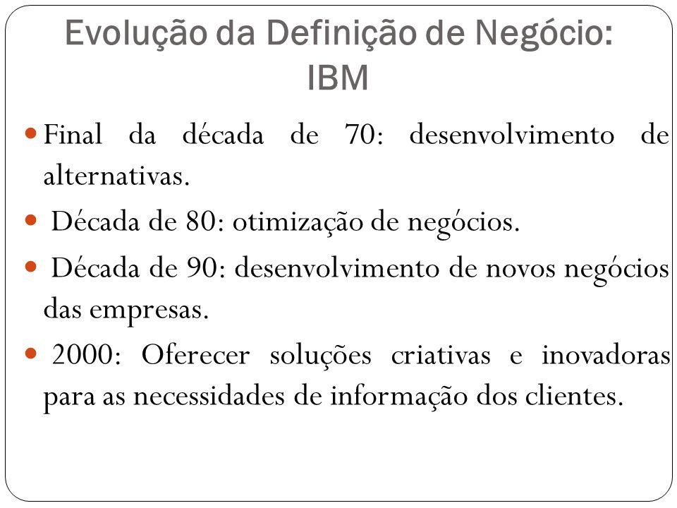 Evolução da Definição de Negócio: IBM Final da década de 70: desenvolvimento de alternativas.