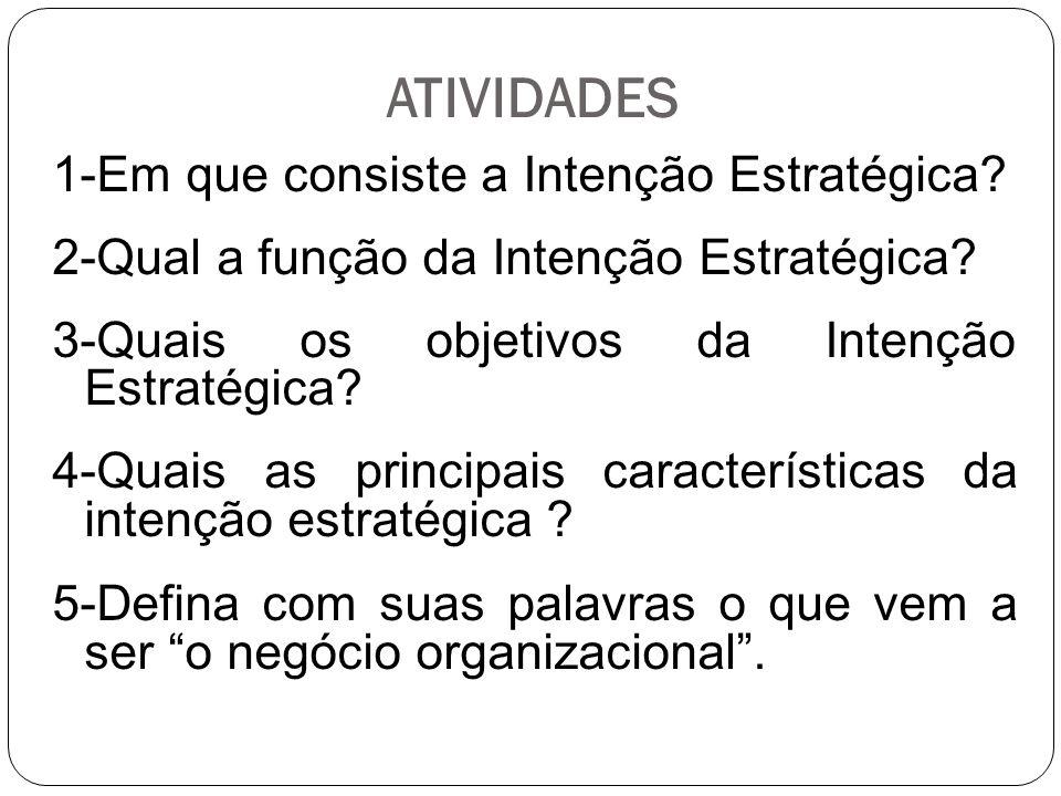 ATIVIDADES 1-Em que consiste a Intenção Estratégica.