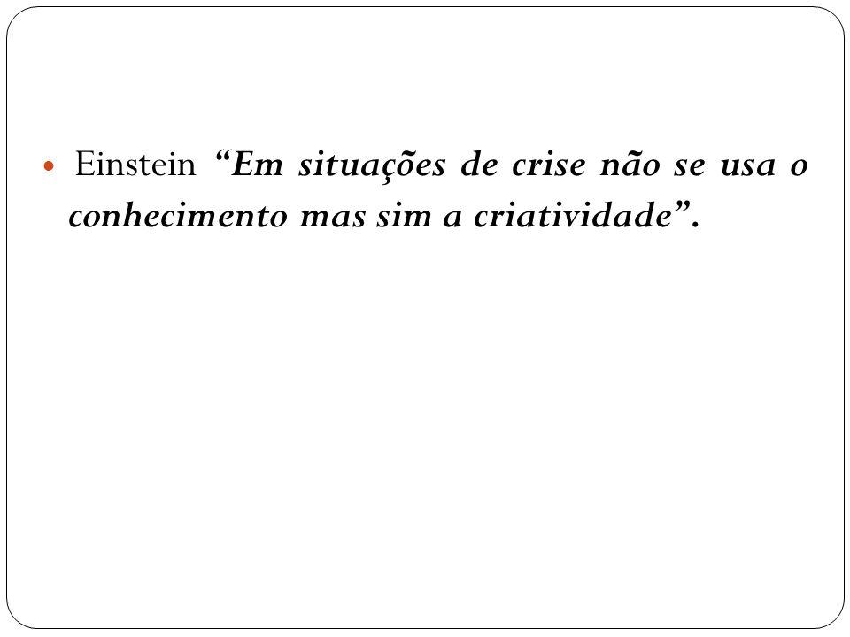 Einstein Em situações de crise não se usa o conhecimento mas sim a criatividade .