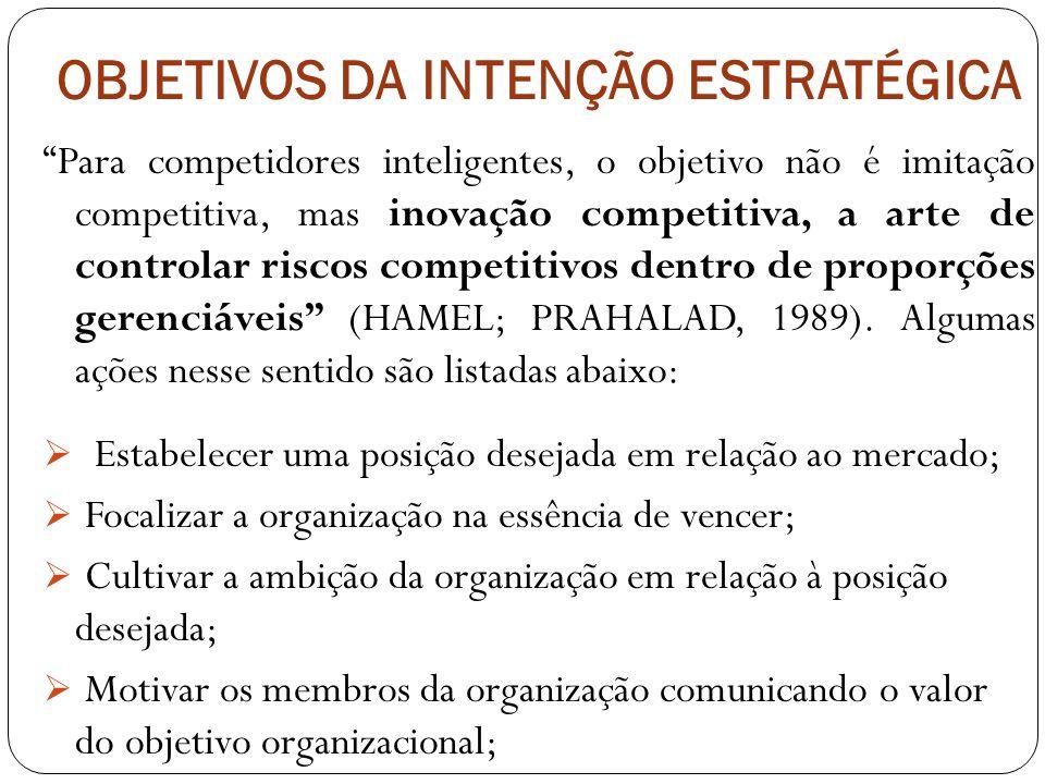 OBJETIVOS DA INTENÇÃO ESTRATÉGICA Para competidores inteligentes, o objetivo não é imitação competitiva, mas inovação competitiva, a arte de controlar riscos competitivos dentro de proporções gerenciáveis (HAMEL; PRAHALAD, 1989).
