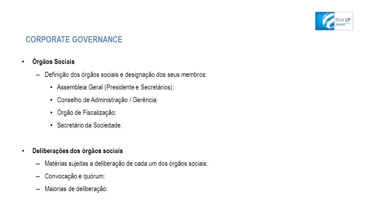 Órgãos Sociais – Definição dos órgãos sociais e designação dos seus membros: Assembleia Geral (Presidente e Secretários); Conselho de Administração / Gerência; Órgão de Fiscalização; Secretário da Sociedade.