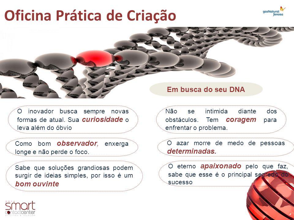 Oficina Prática de Criação Em busca do seu DNA O inovador busca sempre novas formas de atual. Sua curiosidade o leva além do óbvio Como bom observador
