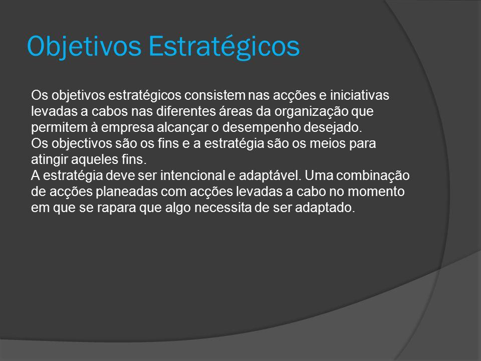 Objetivos Estratégicos Os objetivos estratégicos consistem nas acções e iniciativas levadas a cabos nas diferentes áreas da organização que permitem à empresa alcançar o desempenho desejado.