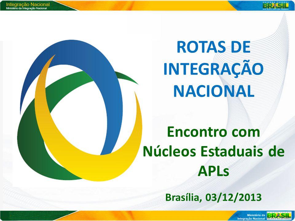 ROTAS DE INTEGRAÇÃO NACIONAL Encontro com Núcleos Estaduais de APLs Brasília, 03/12/2013