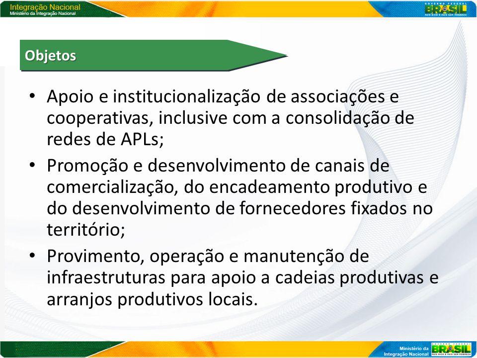 Apoio e institucionalização de associações e cooperativas, inclusive com a consolidação de redes de APLs; Promoção e desenvolvimento de canais de come