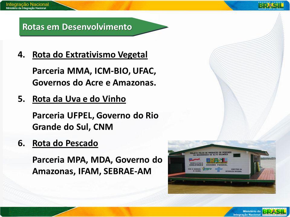 4.Rota do Extrativismo Vegetal Parceria MMA, ICM-BIO, UFAC, Governos do Acre e Amazonas. 5.Rota da Uva e do Vinho Parceria UFPEL, Governo do Rio Grand