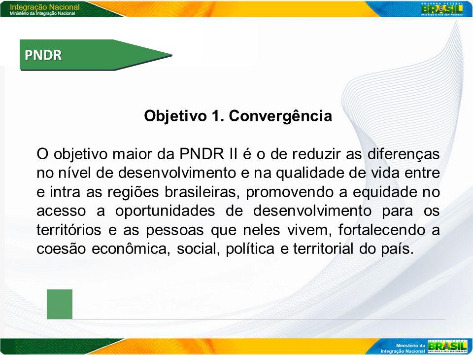 PNDRPNDR Objetivo 1. Convergência O objetivo maior da PNDR II é o de reduzir as diferenças no nível de desenvolvimento e na qualidade de vida entre e