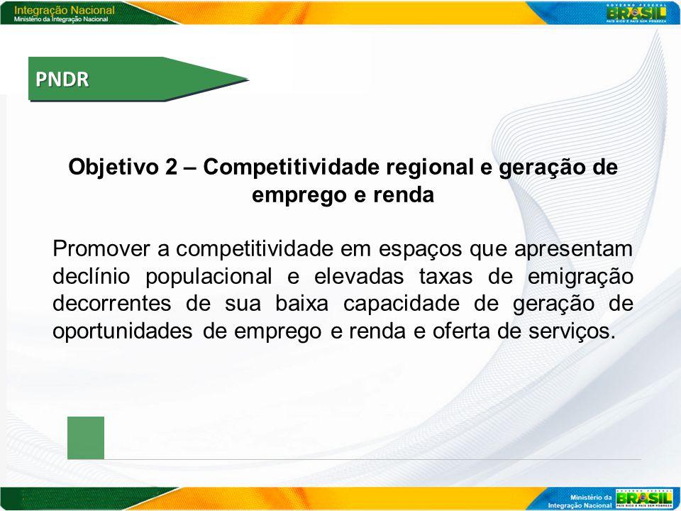 PNDRPNDR Objetivo 2 – Competitividade regional e geração de emprego e renda Promover a competitividade em espaços que apresentam declínio populacional