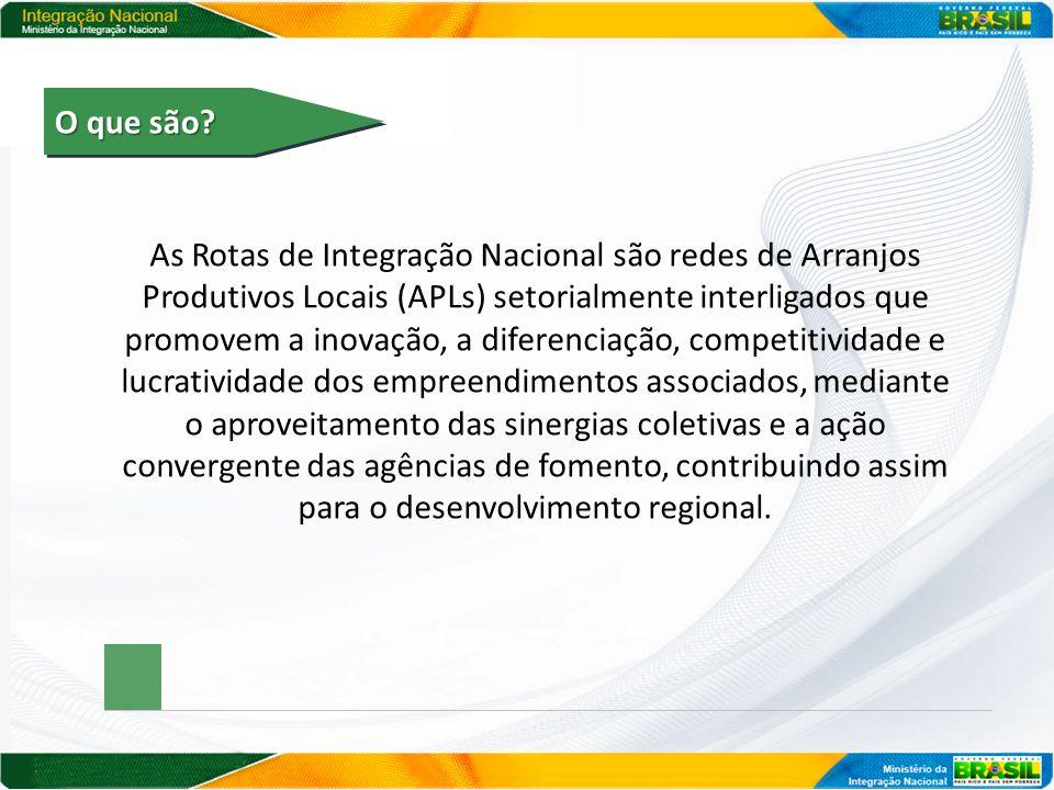 O que são? As Rotas de Integração Nacional são redes de Arranjos Produtivos Locais (APLs) setorialmente interligados que promovem a inovação, a difere