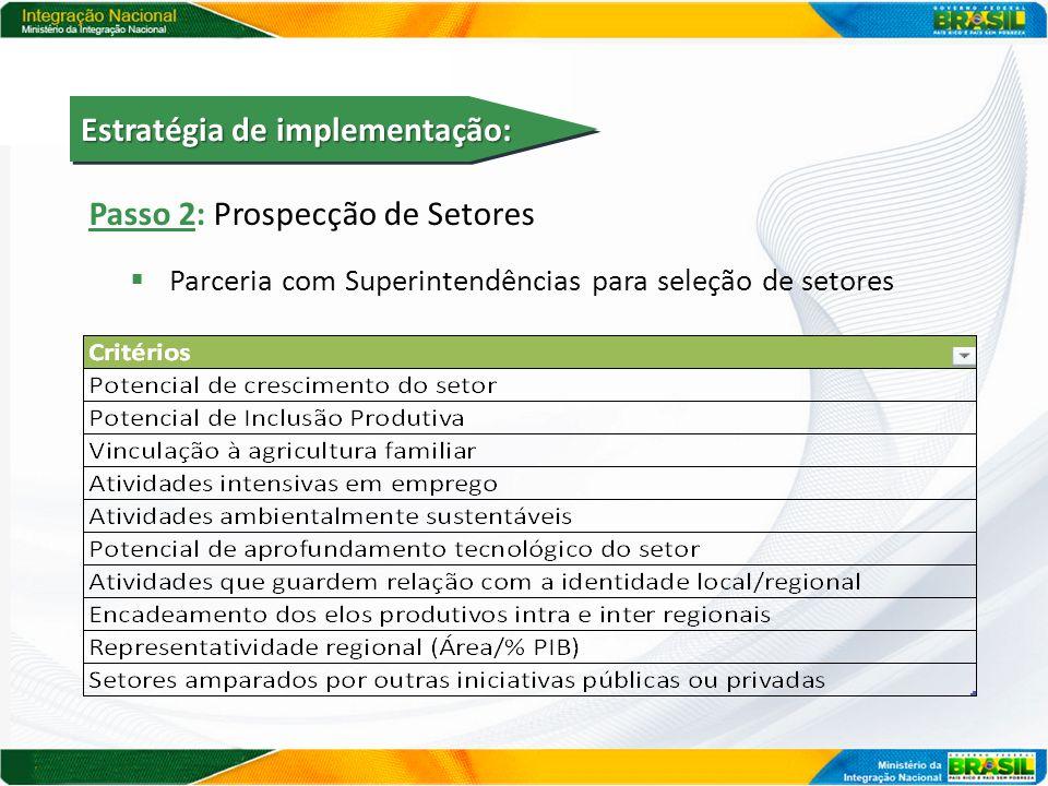 Passo 2: Prospecção de Setores  Parceria com Superintendências para seleção de setores Estratégia de implementação:
