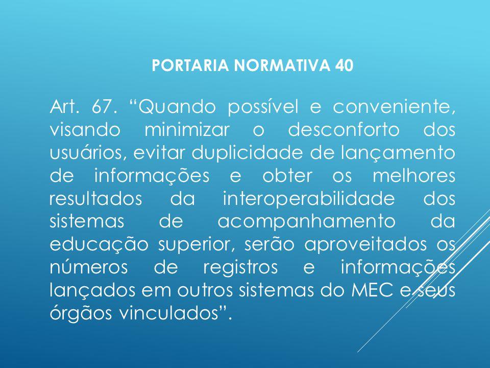 PORTARIA NORMATIVA 40 Art. 67.