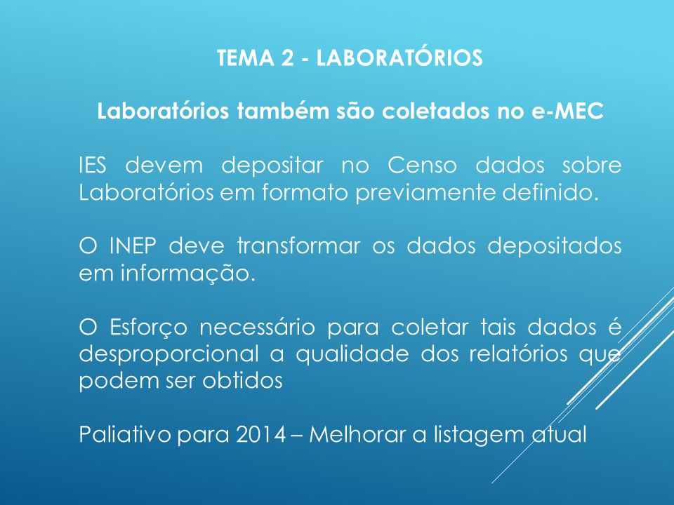 TEMA 2 - LABORATÓRIOS Laboratórios também são coletados no e-MEC IES devem depositar no Censo dados sobre Laboratórios em formato previamente definido.