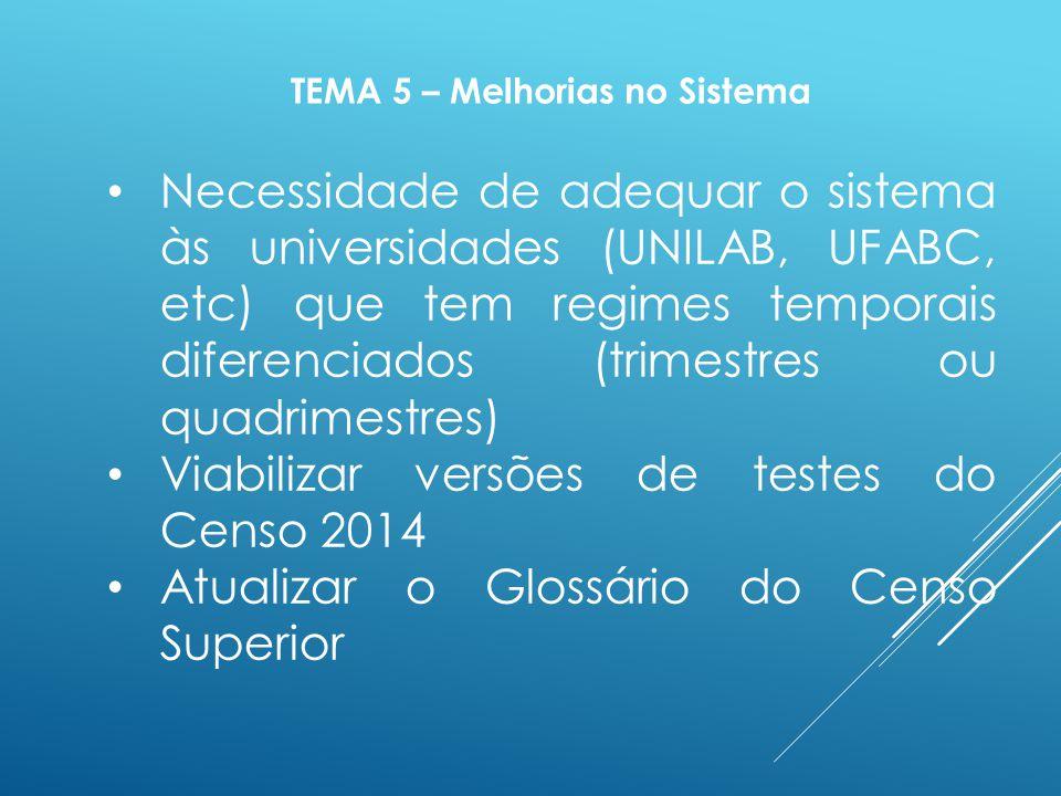 Necessidade de adequar o sistema às universidades (UNILAB, UFABC, etc) que tem regimes temporais diferenciados (trimestres ou quadrimestres) Viabilizar versões de testes do Censo 2014 Atualizar o Glossário do Censo Superior TEMA 5 – Melhorias no Sistema