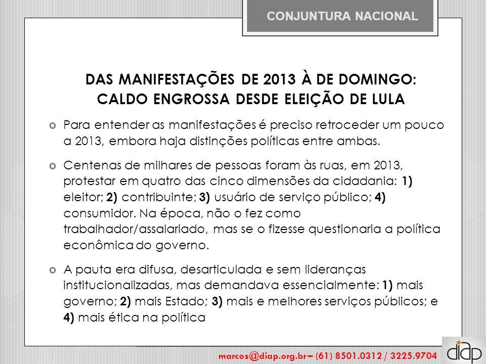 DAS MANIFESTAÇÕES DE 2013 À DE DOMINGO: CALDO ENGROSSA DESDE ELEIÇÃO DE LULA  Para entender as manifestações é preciso retroceder um pouco a 2013, em