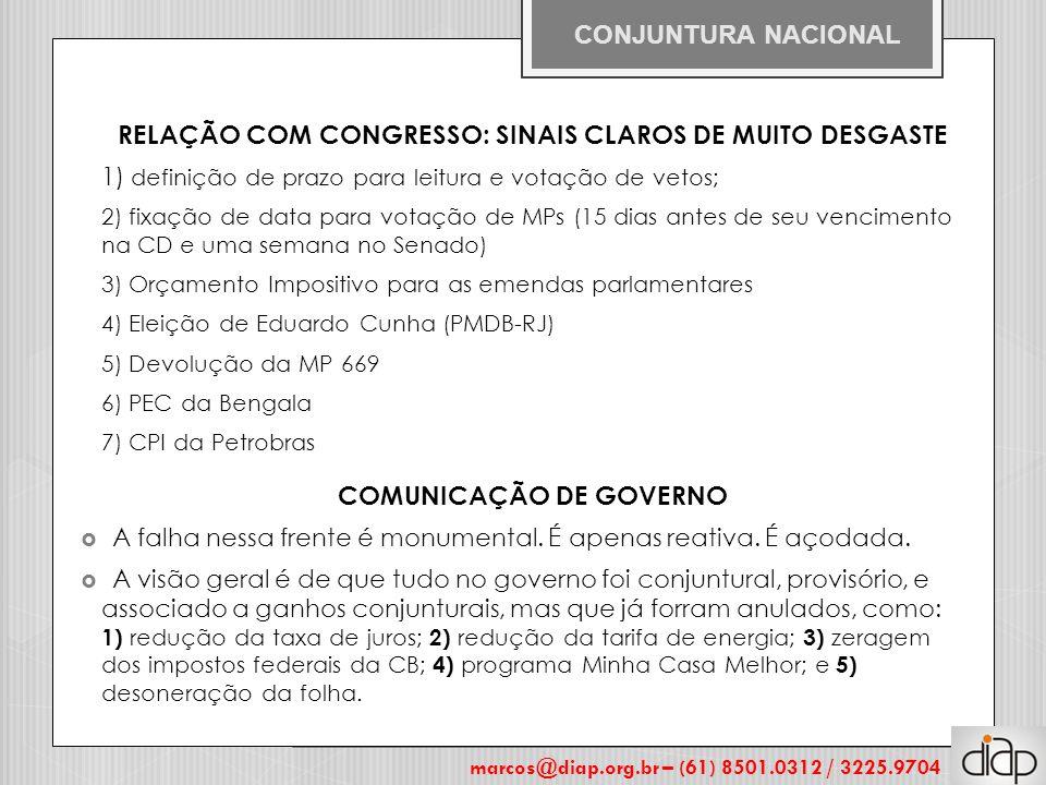 RELAÇÃO COM CONGRESSO: SINAIS CLAROS DE MUITO DESGASTE 1) definição de prazo para leitura e votação de vetos; 2) fixação de data para votação de MPs (15 dias antes de seu vencimento na CD e uma semana no Senado) 3) Orçamento Impositivo para as emendas parlamentares 4) Eleição de Eduardo Cunha (PMDB-RJ) 5) Devolução da MP 669 6) PEC da Bengala 7) CPI da Petrobras COMUNICAÇÃO DE GOVERNO  A falha nessa frente é monumental.