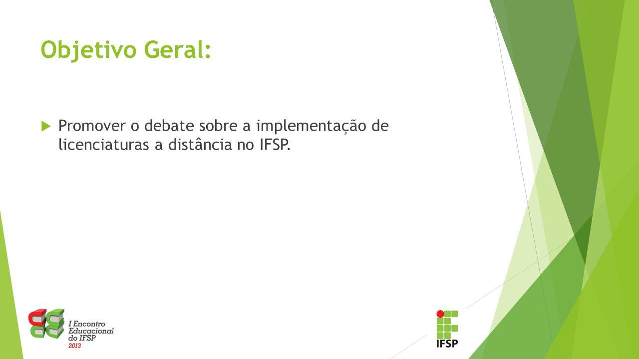 Objetivo Geral:  Promover o debate sobre a implementação de licenciaturas a distância no IFSP.
