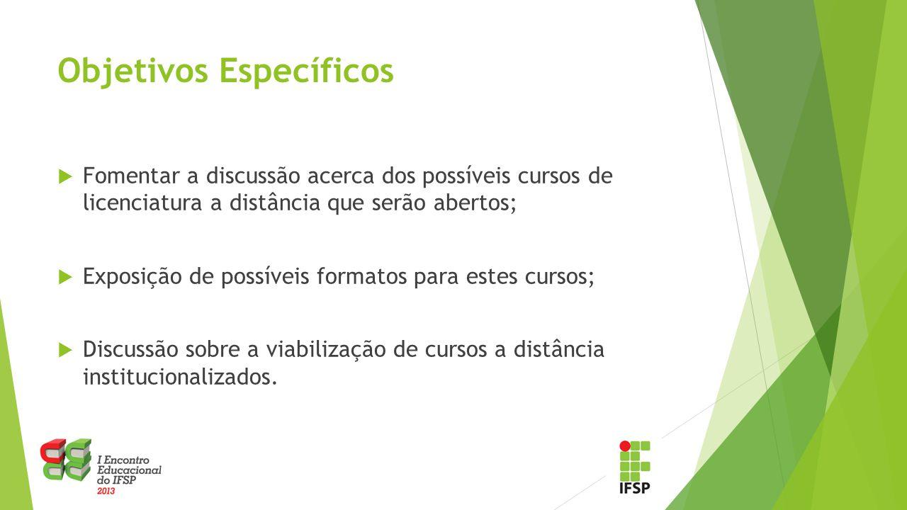 Público-Alvo:  Servidores do IFSP interessados em discutir a implementação de licenciaturas a distância.