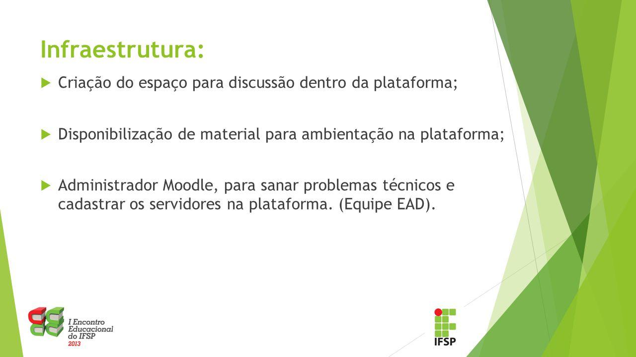Infraestrutura:  Criação do espaço para discussão dentro da plataforma;  Disponibilização de material para ambientação na plataforma;  Administrador Moodle, para sanar problemas técnicos e cadastrar os servidores na plataforma.