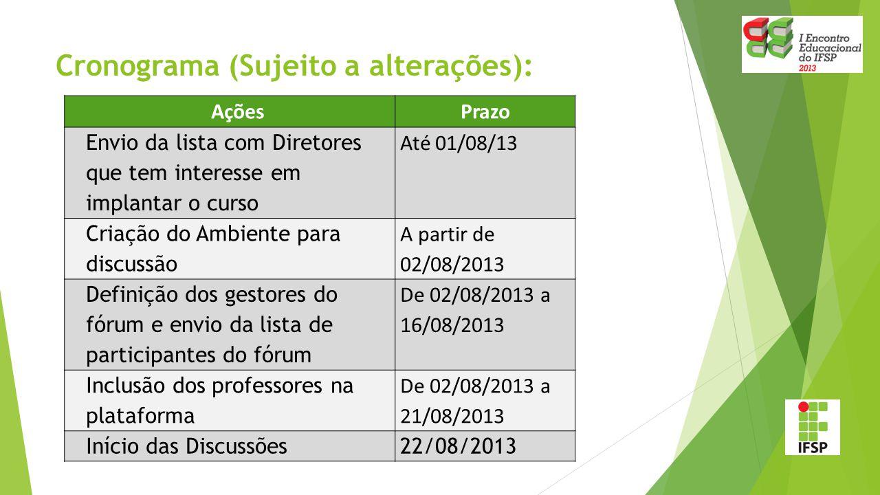 Cronograma (Sujeito a alterações): AçõesPrazo Envio da lista com Diretores que tem interesse em implantar o curso Até 01/08/13 Criação do Ambiente para discussão A partir de 02/08/2013 Definição dos gestores do fórum e envio da lista de participantes do fórum De 02/08/2013 a 16/08/2013 Inclusão dos professores na plataforma De 02/08/2013 a 21/08/2013 Início das Discussões22/08/2013