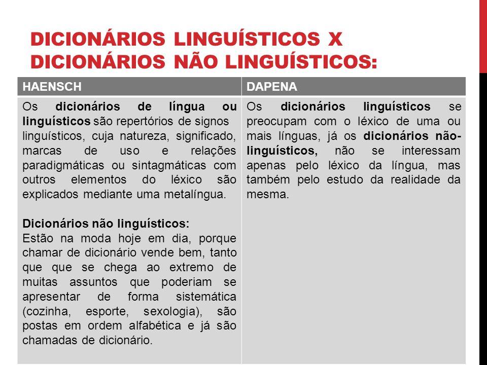 DICIONÁRIOS LINGUÍSTICOS X DICIONÁRIOS NÃO LINGUÍSTICOS: HAENSCHDAPENA Os dicionários de língua ou linguísticos são repertórios de signos linguísticos