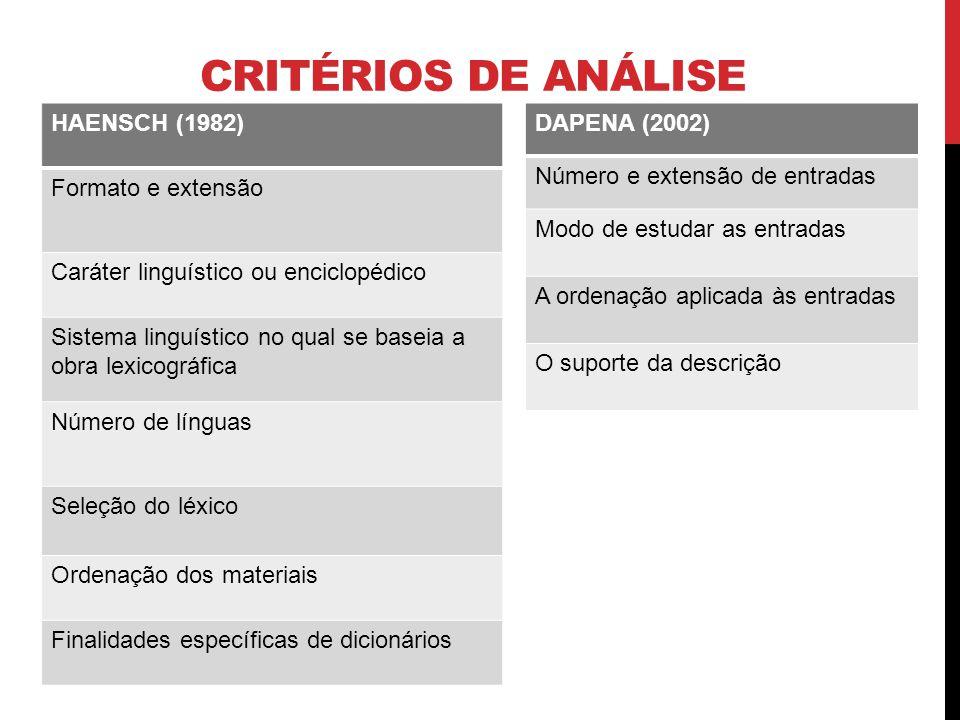 CRITÉRIOS DE ANÁLISE HAENSCH (1982) Formato e extensão Caráter linguístico ou enciclopédico Sistema linguístico no qual se baseia a obra lexicográfica