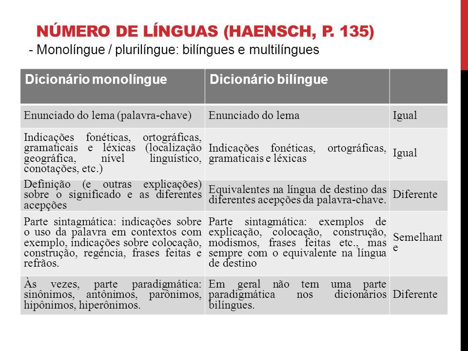 NÚMERO DE LÍNGUAS (HAENSCH, P. 135) - Monolíngue / plurilíngue: bilíngues e multilíngues Dicionário monolíngueDicionário bilíngue Enunciado do lema (p