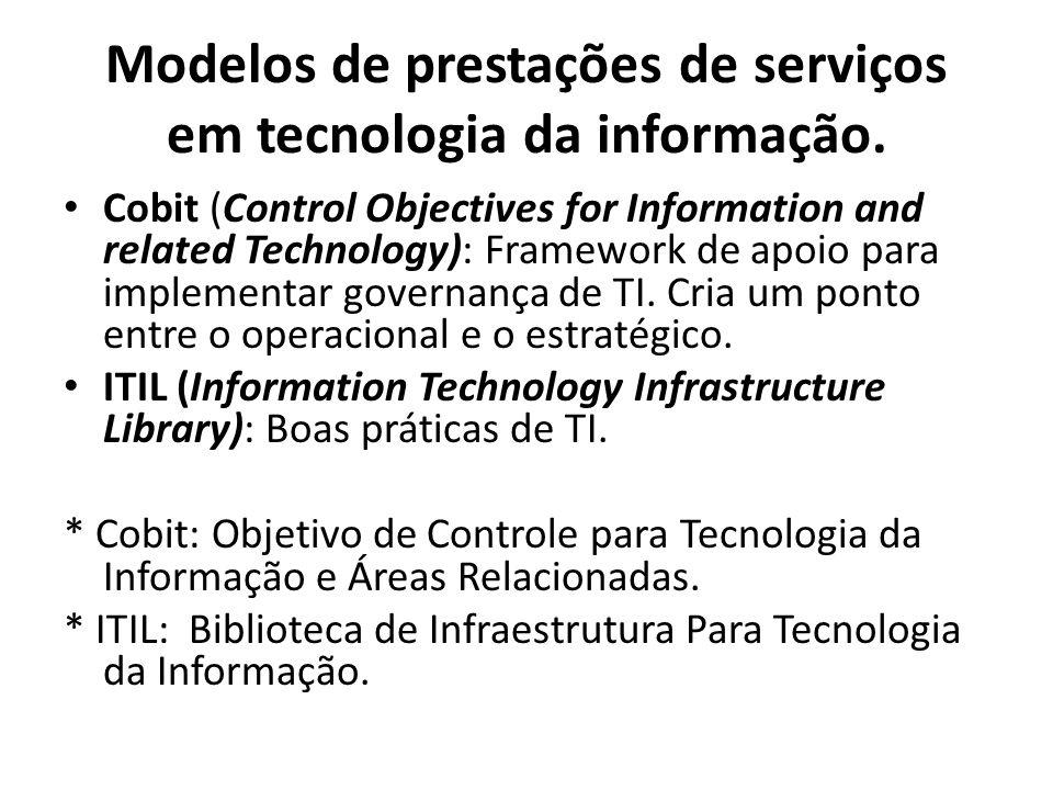 Modelos de prestações de serviços em tecnologia da informação. Cobit (Control Objectives for Information and related Technology): Framework de apoio p