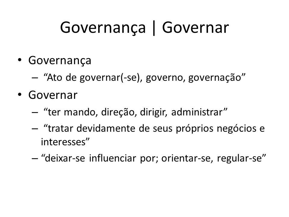 """Governança   Governar Governança – """"Ato de governar(-se), governo, governação"""" Governar – """"ter mando, direção, dirigir, administrar"""" – """"tratar devidam"""