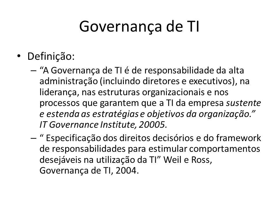 """Governança de TI Definição: – """"A Governança de TI é de responsabilidade da alta administração (incluindo diretores e executivos), na liderança, nas es"""