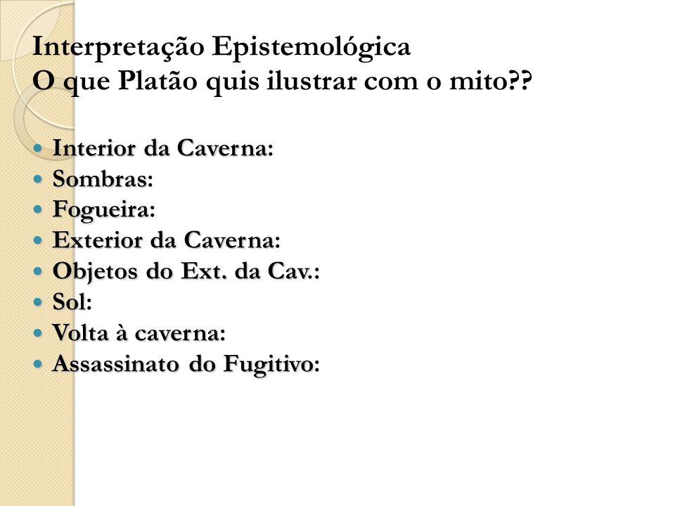 Interpretação Epistemológica O que Platão quis ilustrar com o mito?.