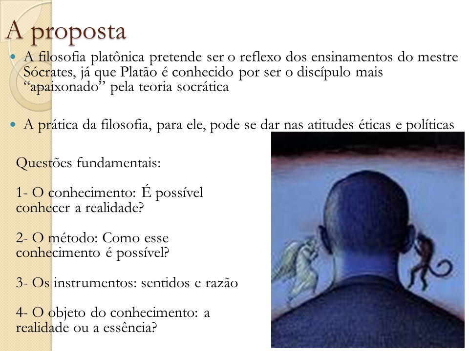 """A proposta A filosofia platônica pretende ser o reflexo dos ensinamentos do mestre Sócrates, já que Platão é conhecido por ser o discípulo mais """"apaix"""